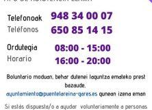 SI NECESITAS AYUDA PARA ADQUIRIR MEDICINAS, PRODUCTOS BÁSICOS U OTRO TIPO DE ASISTENCIA LLAMA 948 340007 (De 8:00 a 15:00 horas) y al 650 851 415 (De 8:00 a 15:00 y de 16:00 a 20:00)