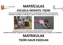 MATRÍCULAS ESCUELA INFANTIL TXORI