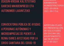 AVISO. CONVOCATORIA PÚBLICA DE AYUDAS A PERSONAS AUTÓNOMAS Y MICROEMPRESAS DE PUENTE LA REINA/GARES AFECTADAS POR LA CRISIS SANITARIA DEL COVID-19
